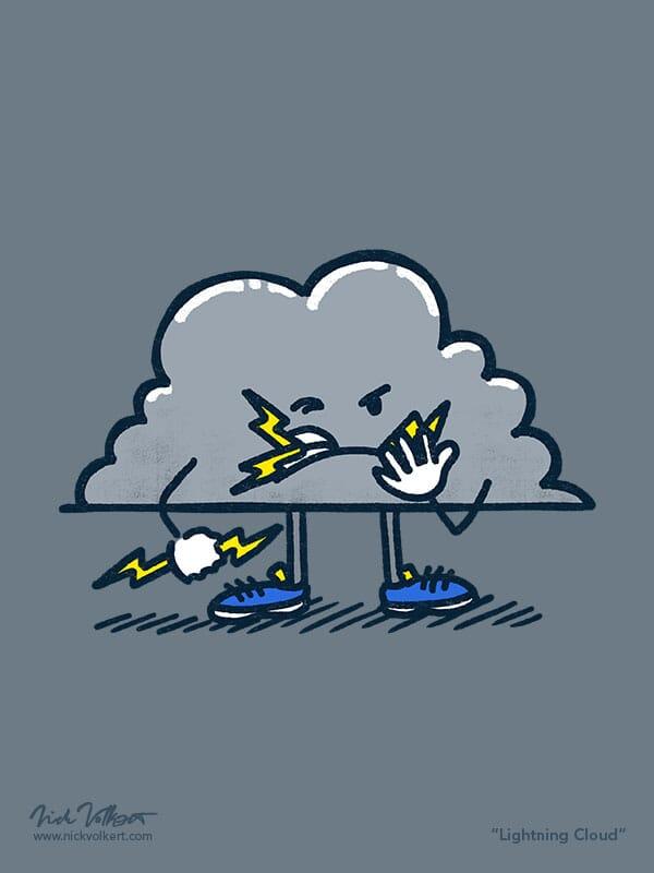 A gray storm cloud chews on lighning bolts.