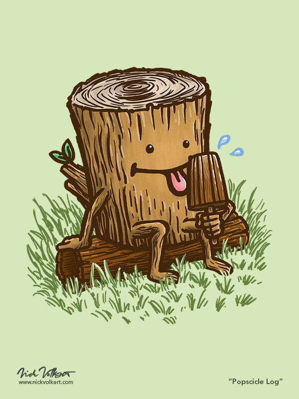 A log takes a break and cools down with a popsicle log treat.