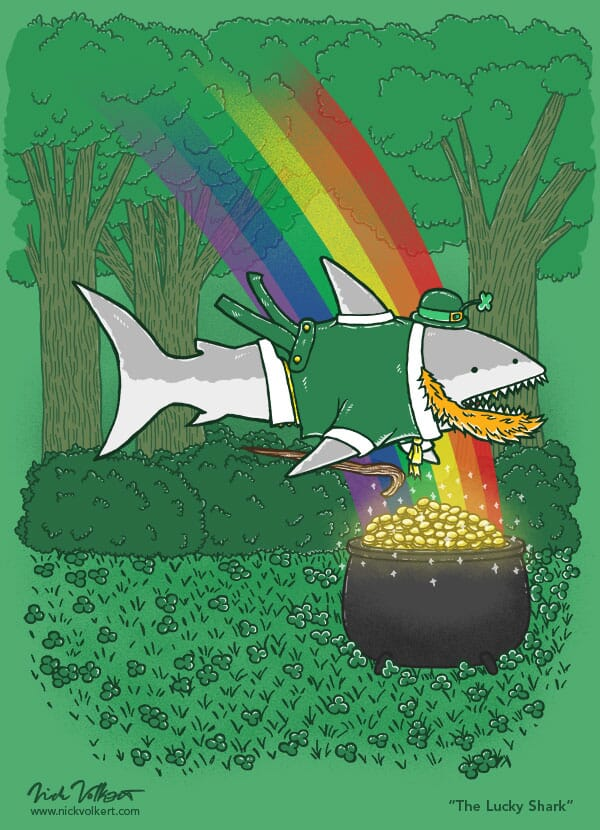 A shark is dressed as a leprechan by a pot of gold.