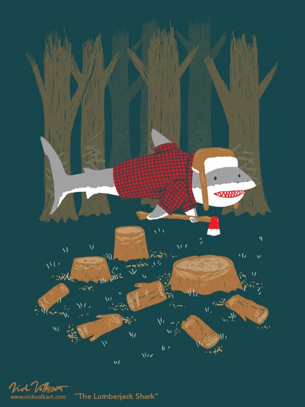A shark dressed as a lumberjack with a warm hat and axe strikes a pose in a woodland setting.