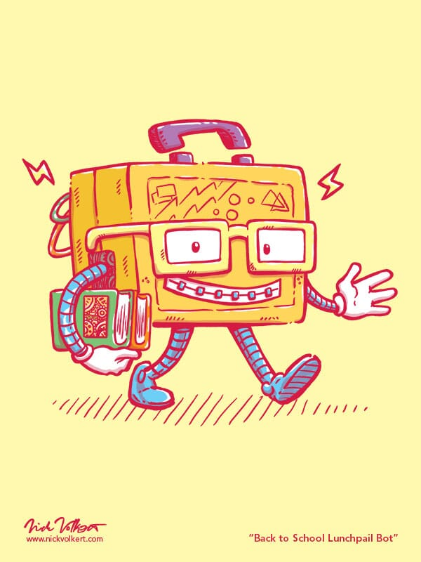 A small smiling lunch box, with glasses and braces, walks to class.