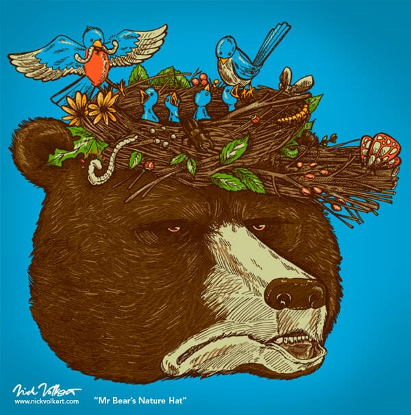 An annoyed grizzly bear deals with springtime birds making him a hat that serves as their nest.
