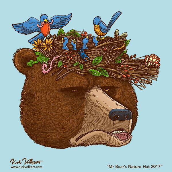 A bear is annoyed while wearing a hat that is also a bird's nest.