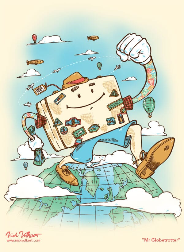 A large suitcase with a face steps across the globe.