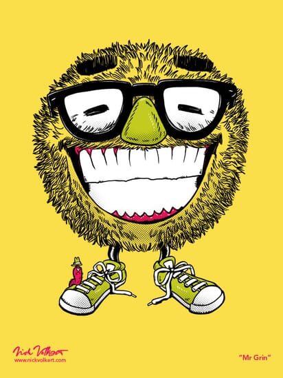 A smiling monster wearing glasses and sporting a large grin.