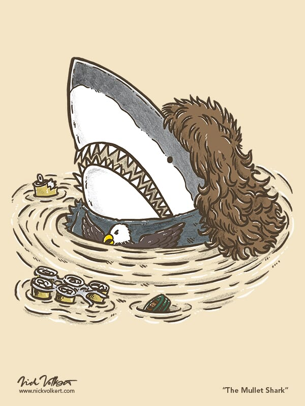 A shark with a mullet emerges from the water with a sixer and a sleeveless eagle tee shirt.