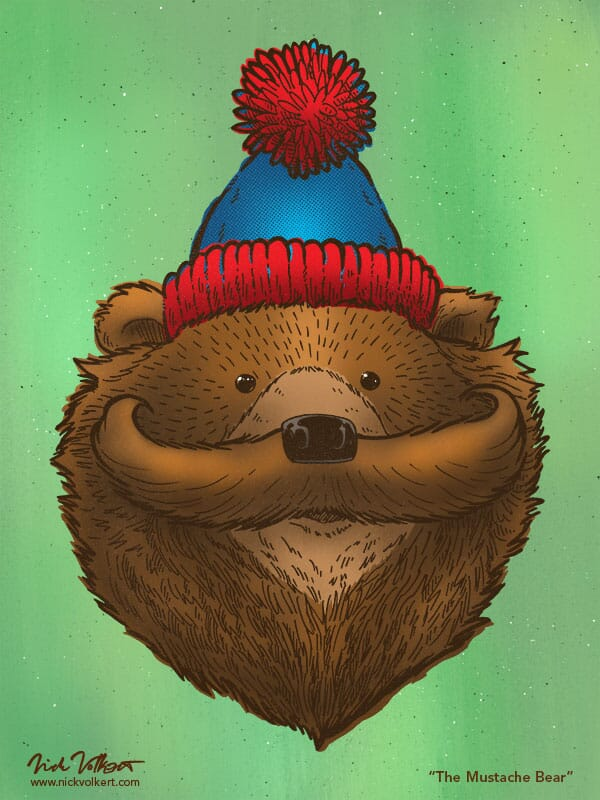 A bear in a stocking cap has a large mustache.