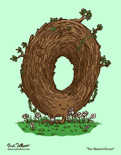 A donut made of twigs begins to bud leaves while enjoying nature.