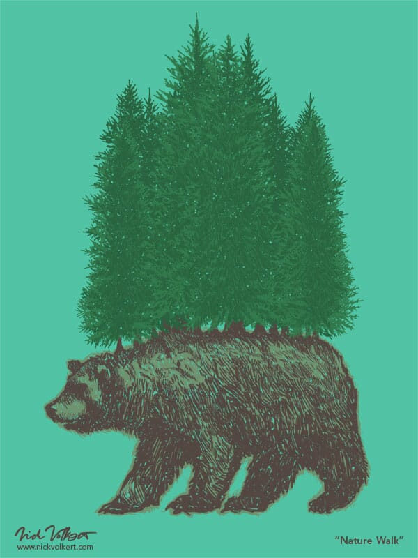 A grizzly bear with a pine foreset on its back walking.