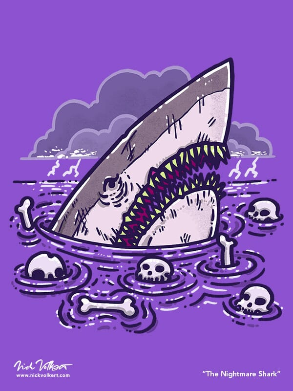 A scary shark rests in the water surrounded by bones.
