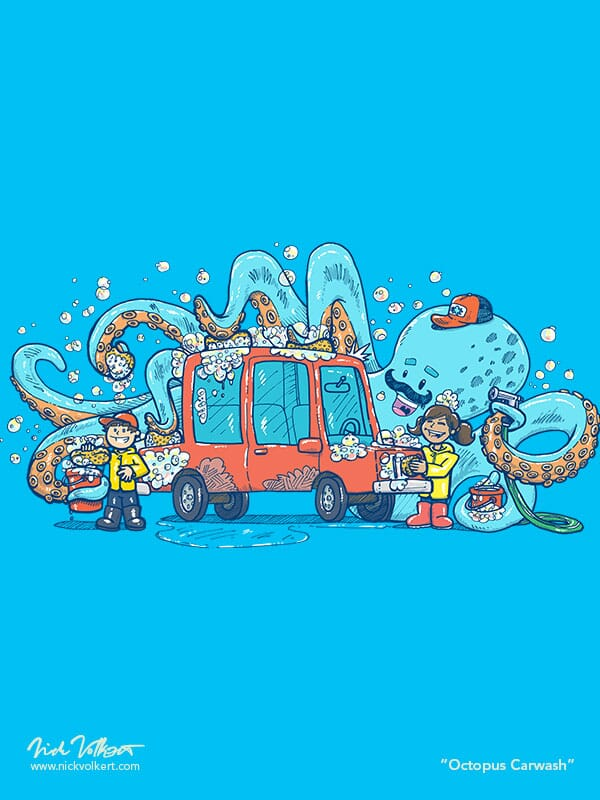 A friendly octopus with a mustache helps some young kids in rain coats wash a red car