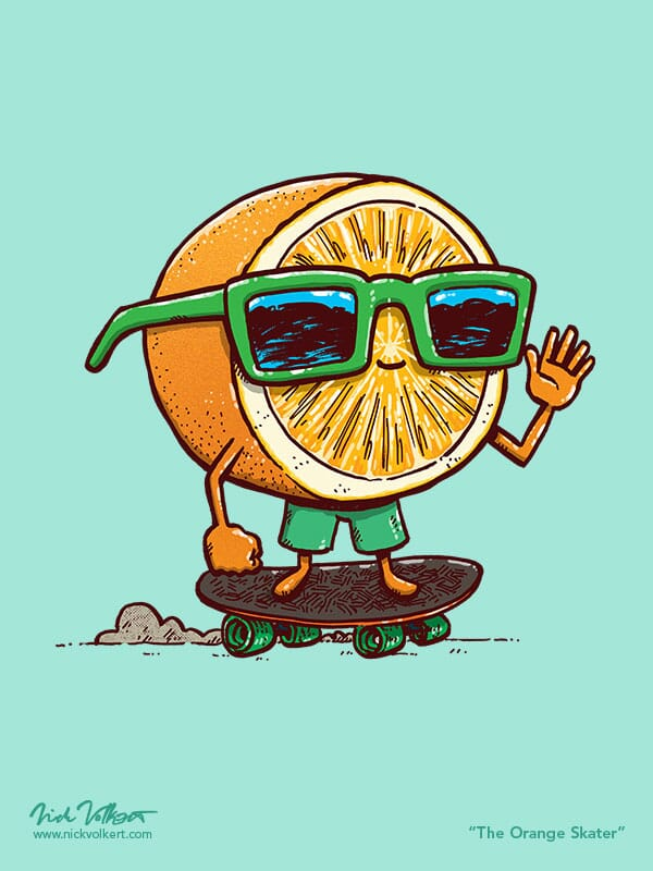 An orange with green sunglasses skates on a skateboard while waving