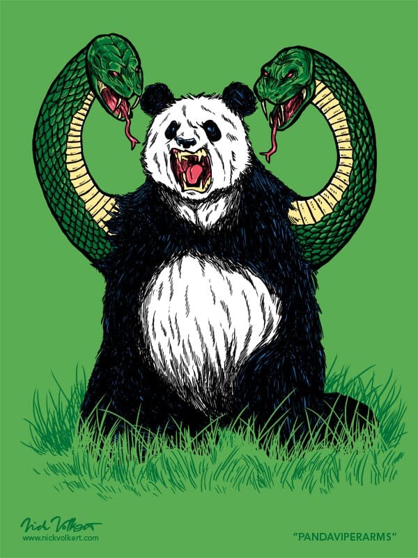 A panda sitting in grass with arms that are angry snakes.