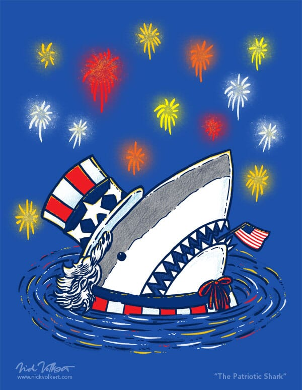 A shark pops out of the water dressed as Uncle Sam, with fireworks going off in the background.
