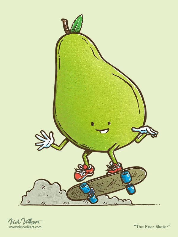 A pear shows off a trick on a skateboard
