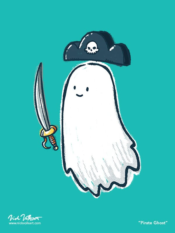 A friendly ghost with a cool pirate sword and hat