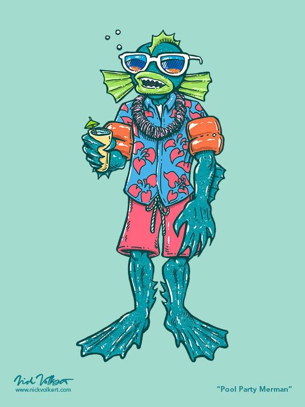 A merman is drinking a tropical drink, wearing wingies and a Hawaiin shirt.