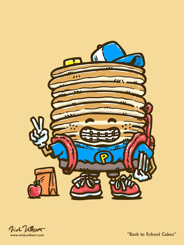 Captain Pancake smiles at the viewer as a younger version of himself, with braces a book bag and holding his books with his lunch on the ground at his side.