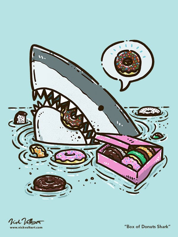 A shark peaks out of the water surrounded by donuts.