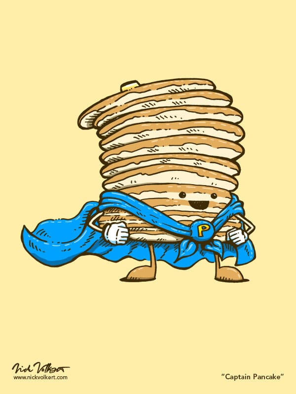 Captain Pancake stands proud with his blue cape waving behind him.