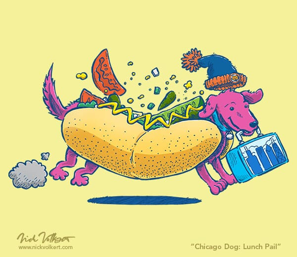 A dachshund wearing a Chicago hot dog costume runs by with a lunch pail that has the Chicago skyline.