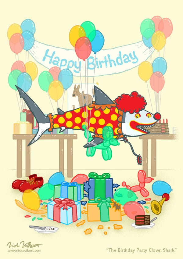 A shark is dressed as a clown at a kid's birthday party.