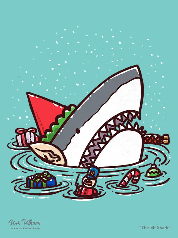 A shark dressed as an elf is surrounded by toys.