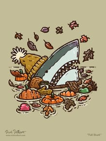 A shark peaks out of the water with a rosy nose, wearing a stocking cap, gloves, a scarf, surrounded by falling leaves.