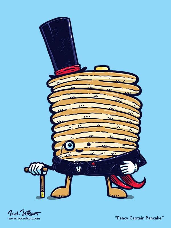 Captain Pancake is dressed in formal wear.