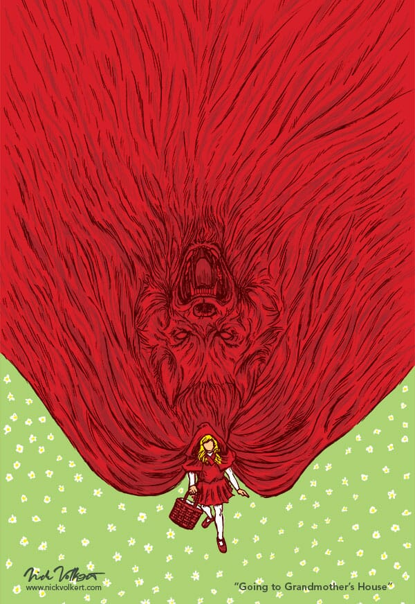 Little Red Riding Hood approaches the viewer as her large cape reveals the Big Bad Wolf.
