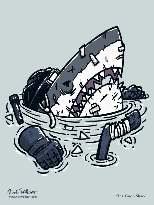 A shark is beat up and missing teeth after a hockey game.