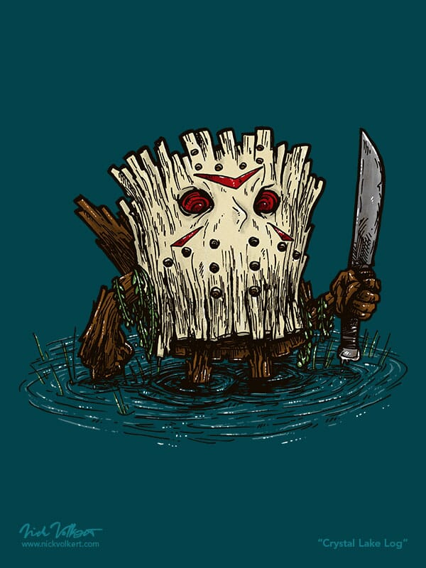 A log wearing a terrifying hockey mask rises from the water.
