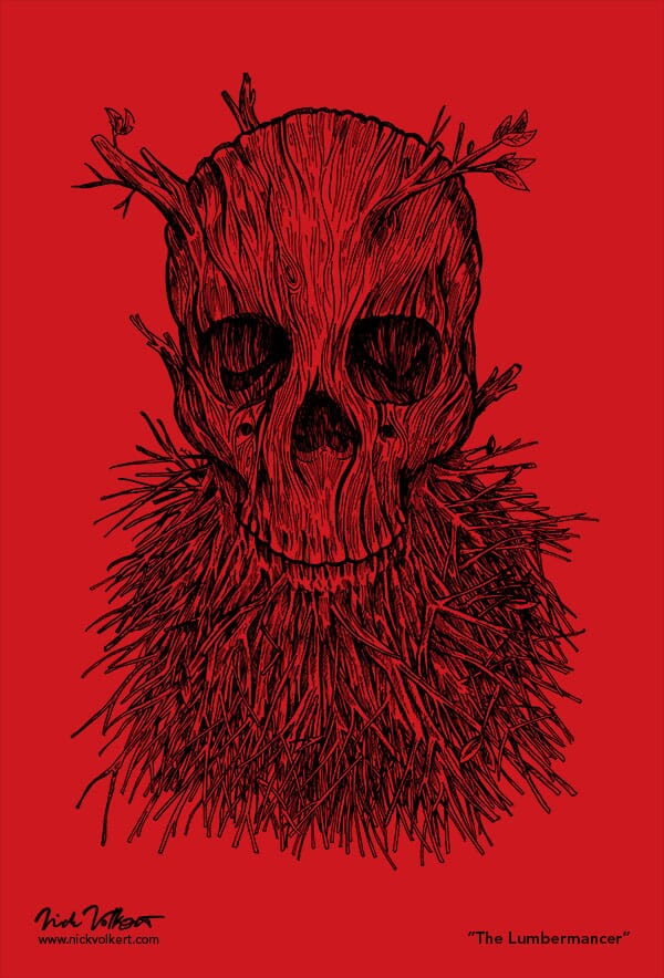 A skull with branches growing out of the jaw and head on red.