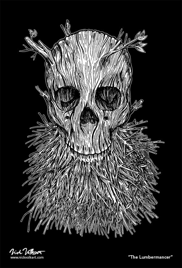 A skull with branches growing out of the jaw and head on black.
