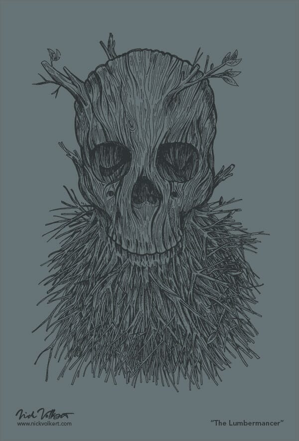 A skull with branches growing out of the jaw and head on grey.