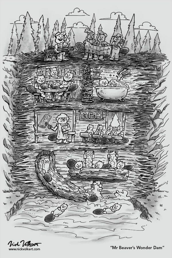 A slice of life inside of a beaver dam.
