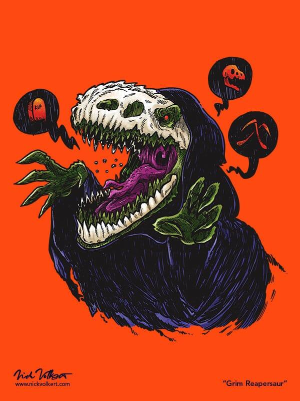 A T-Rex dressed as the Grim Reaper.