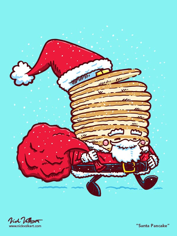 Captain Pancake is dressed as Santa Claus carrying a huge bag of presents.