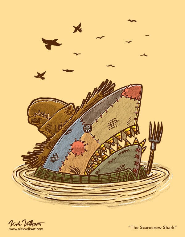A scarecrow shark pops out of the water to shoo away the crows.