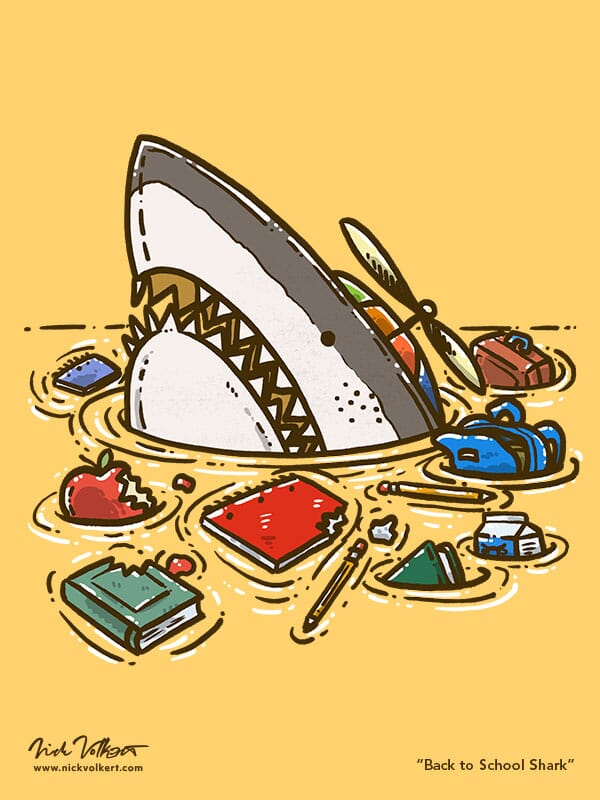 A shark peeks out of the water wearing a spinning helicopter hat with all of his books and school supplies in disarray floating in the water.