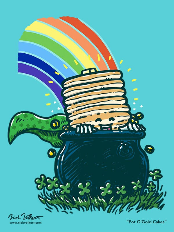 Captain Pancake is peaking out of a pot of gold with a rainbow in the background landing on the pot.