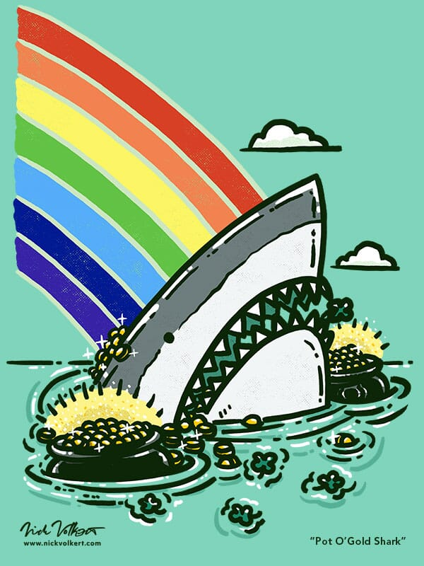 A shark peeks out of the water beside a pot of gold for St Patrick's Day.