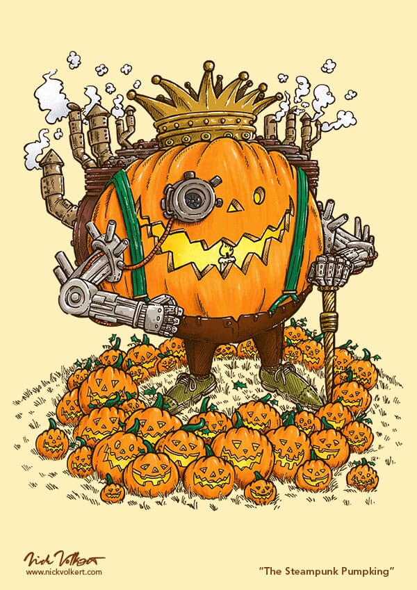 A pumpkin powered by steam has robotic arms and stands over an assortment of jack o' lanterns.