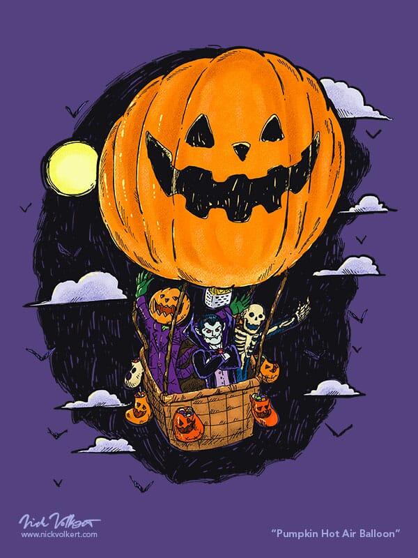 A spooky group of Halloween characters hiching a ride at night in a hot air balloon with a pumpkin print