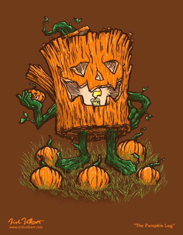 A log carved as a pumpkin is holding a pumpkin in his hand.