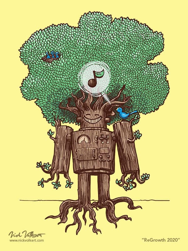 A wooden robot regrows it's leaves and roots as it hosts a family of small song birds.