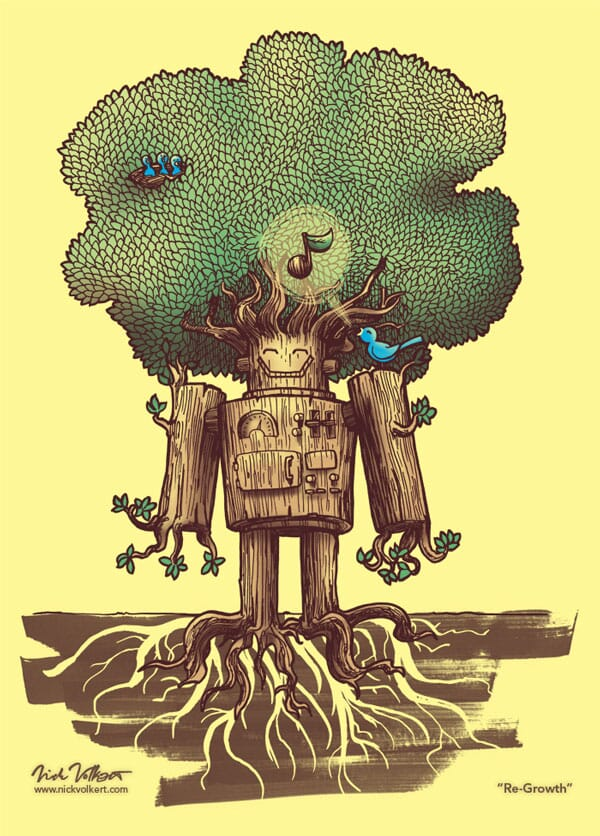 A fully blooming tree that had a former life as a robot has a bird and hatchlings living in his branches.
