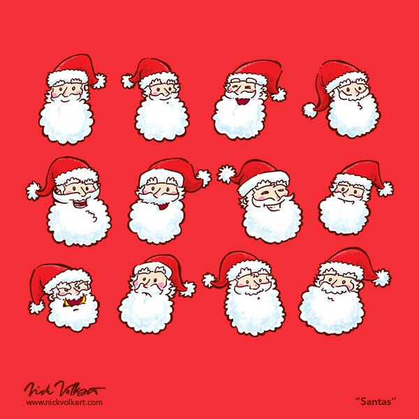Ten happy Santas, one worried one, and one evil one.