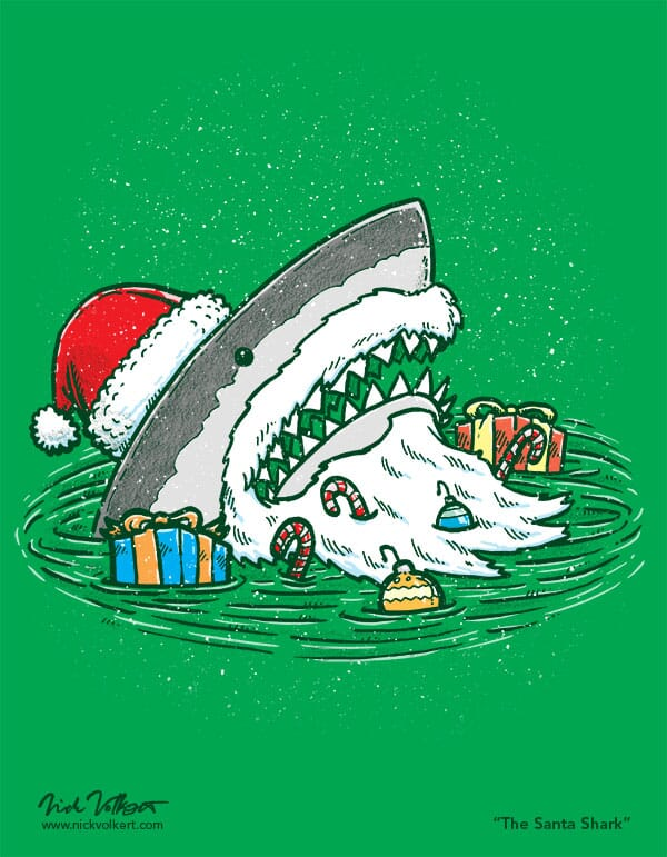 A shark dressed like Santa Claus emerges from the water with presents and candy.
