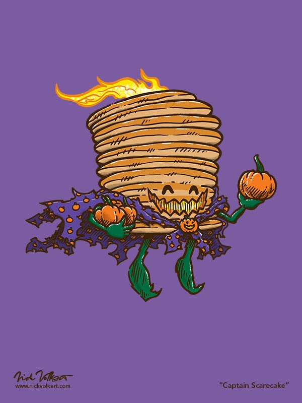 A spooky version of Captain Pancake that is flying by with a couple of pumpkins in tow and a pumpkin pattern cape